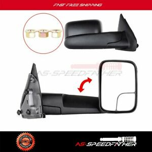Left Right Manual Side Flip Up Tow Mirrors Pair Set Black For 2002 08 Dodge Ram