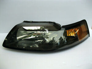 Headlight Headlamp Assembly Black Amber Left Lh Driver 1999 2004 Ford Mustang