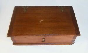 Beautiful Vintage Brown Wood Box With Hinged Lid And Dovetailed Construction