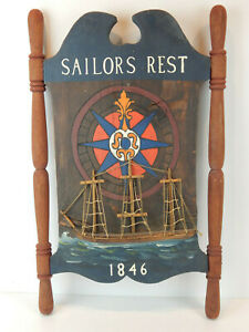Maritime Nautical American Folk Art Tavern Sign Vintage Wood Reproduction