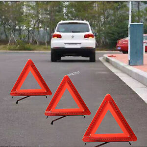 Roadside Led Red Light Warning Triangle Emergency Safety Reflective Kit 3 Pack