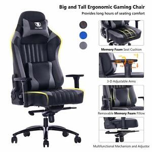 Killabee Big And Tall 400lb Memory Foam Gaming Chair With 3d Arms Grey
