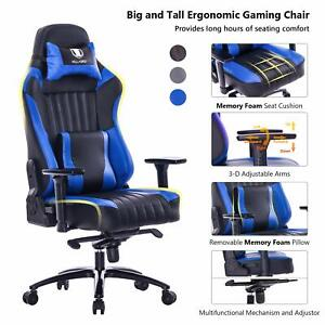 Killabee Big And Tall 400lb Memory Foam Gaming Chair With 3d Arms Blue