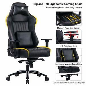 Killabee Big And Tall 400lb Memory Foam Gaming Chair With 3d Arms Black