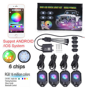 4pc Pods Car Auto Rgb Led Rock Light Offroad Wireless Bluetooth Music Controller