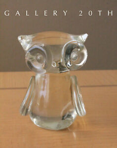 Cute Mid Century Modern Glass Owl Sculpture 60 S 50 S Decor Accent Japan Vtg