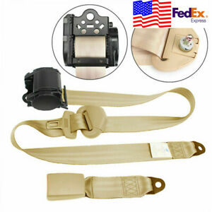 3 Point Automatic Car Front Seat Belt Buckle Retractable Safety Straps Beige Usa