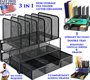 3 in 1 Office Supplies Desk Organizer Shelf File Document Paper Mail Tray Drawer