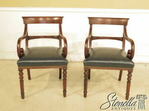 40207 Pair Sheraton Design Open Arm Chairs W Blue Leather Seats