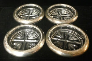 4 Sterling Silver Glass Coasters Fb Rogers Silver Co