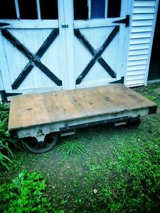 Antique Wood Warehouse Cart Works As Wonderful Low Table
