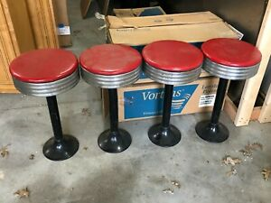 Wow Vintage Set Of 4 Art Deco Diner Stools Soda Fountain Ice Cream Parlor Old