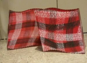 Unusual Mid Century Modern Red Plaid Wave Box Lamp Shade