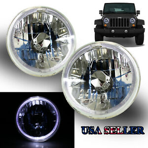 White Led Halo For Chevy gmc 7 H6014 H6017 H6024 Clear Reflector Headlights