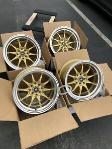 Used Set 15x8 Mst Mt11 4x100 4x114 3 0 Gold Rims Fits Datsun 240z 260z Ae86