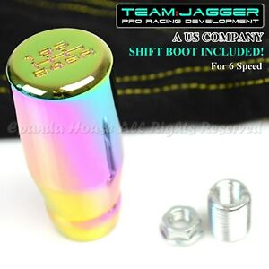 For Jeep Dodge M10 6 Speed Long Manual Shift Knob Neochrome Yellow Stitch Boot