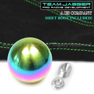 For Subaru M12 Neo Stainless Steel Ball Manual Gear Shift Knob Green Stitch Boot