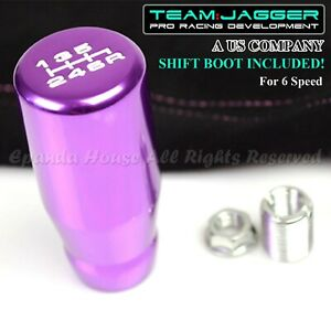 For Chrysler Dodge M8 White 6 Spd Long Gear Shift Knob Purple Pink Stitch Boot