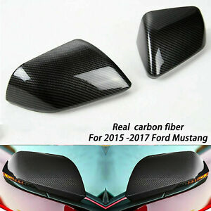 Carbon Fiber Rearview Mirror Cover Trim For Mustang With Signal Led 2015 2017