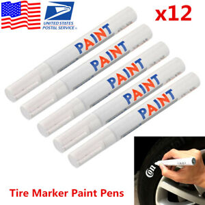 12x White Waterproof Permanent Car Tyre Tire Tread Paint Marker Pen Tire Pen Usa