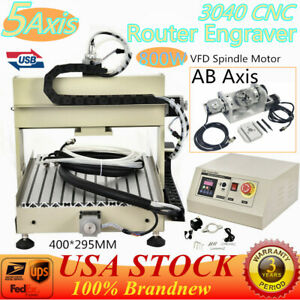 Usa 5 Axis Cnc Router Engraver Milling Machine 3040 Ball Screw 800w Vfd Motor