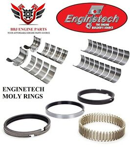 Enginetech Chevy Bbc 427 454 Rod Main Bearings With Moly Piston Rings 70 90