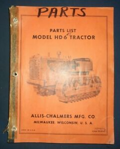 Allis Chalmers Hd 6 Crawler Tractor Dozer Bulldozer Parts Manual Book Catalog