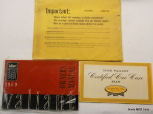 Nos New Vintage Mopar 1960 Plymouth Valiant Glovebox Owners Manual Set