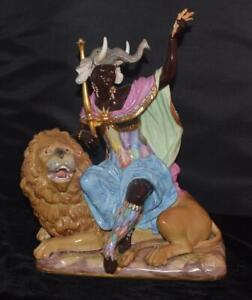 Rare Large Meissen Figurine Africa Moor Sitting On Lion 12 H 689 Perfect