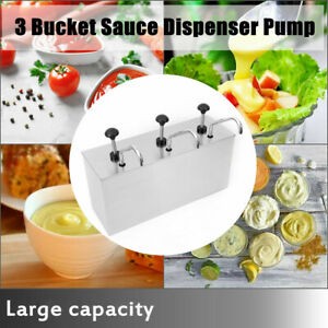 3 Bucket Sauce Dispenser Pump 304 Stainless Steel Squeeze Condiment Dispensing