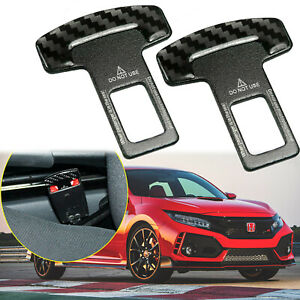 2 Car Accessories Carbon Fiber Safety Seat Belt Buckle Alarm Stopper Clip Clamp