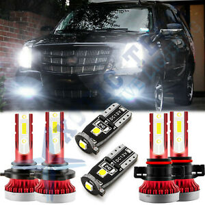 6x White Front Fog Driving Drl Lamps Led Replacement Kit For Cadillac Escalade