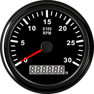 85mm Boat Marine Tachometer Gauge 0 3000rpm Black Rev Counter With Lcd Hourmeter