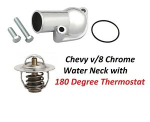 Chrome Chevy Thermostat Water Neck Housing Bbc Sbc 15 180 Degree Thermostat