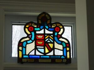 Antique Stained Glass Panel Gothic Crowns Leaded Glass Coat Of Arms Heraldic