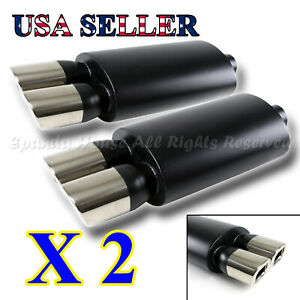 European Style For Bimmer 2x Sport Oval Black Exhaust Muffler Dual Square Tips