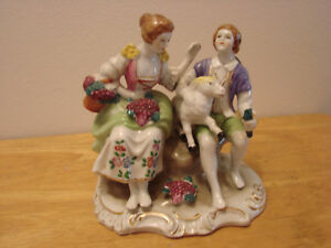 Vintage Sitting Victorian Couple W Sheep Porcelain Figurine Japan