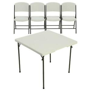 Lifetime 34 Card Table And 4 Chair Combo White