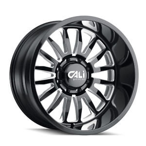 24x14 Cali Offroad Summit Gloss Black And Milled 8x6 5 8x165 1 Set Of 4
