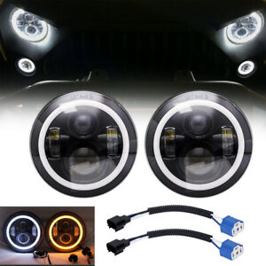 For Jeep Wrangler Jk Tj Lj Halo 7 Led Headlights Drl Lights Combo Kit 2pcs