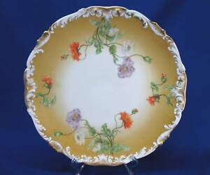 T V Limoges Large Round Charger With Orange White Purple Poppy Flowers
