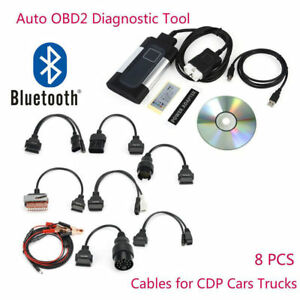 New Bluetooth Tcs Cdp Pro Plus For Autocom Obd2 Diagnostic Tool 8pcs Car Cable