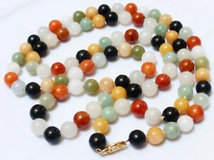 Chinese Vintage 14k Gold Multicolor Jade Bead Necklace 76 Grams