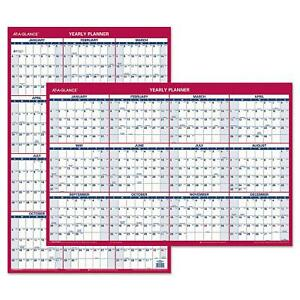 Ataglance Erasable Vertical horizontal Wall Planner 24 x36 Blue red 2018
