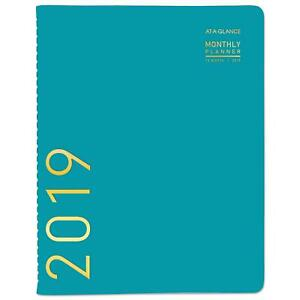 At A Glance Contemporary Monthly Planner 9 5x11 1 8 Teal 2019