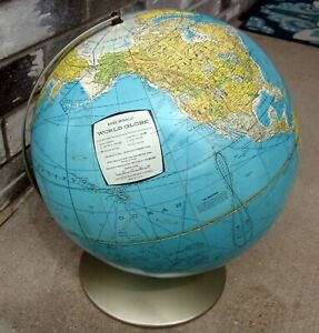 Vintage 1960s Rand Mcnally 12 World Desk Globe 3d Raised Topography