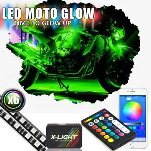 Led Motorcycle Neon Glow Accent Kit 54 Lights 6 Flexible Strips W remote App