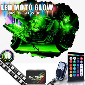 6x Motorcycle Led Lights Wireless Remote Multi Color Neon Glow Light Strips Kit