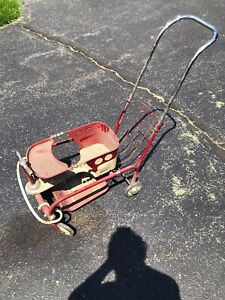 Vintage Metal Baby Buggy Stroller Walker Suspension