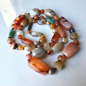 Vintage Chinese Necklace Carnelian Banded Agate Jade Mix Long Bead Strand